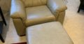 Leather Sofa, Chair and 2 Ottomans